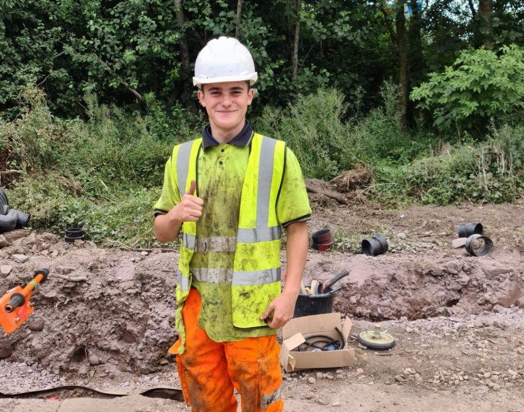 Pictured: Lewis Newell, on site.