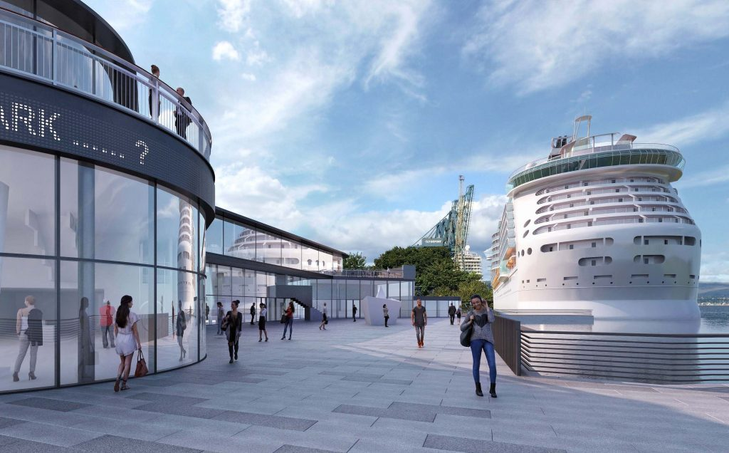 Artists' impression of the new Greenock Ocean Terminal visitor centre.