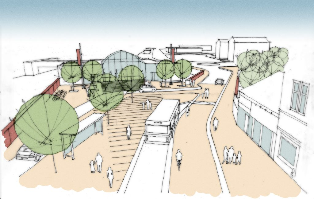 Artists' impression image of the regeneration of Motherwell Transport Hub, one of Glasgow City Region's upcoming projects.