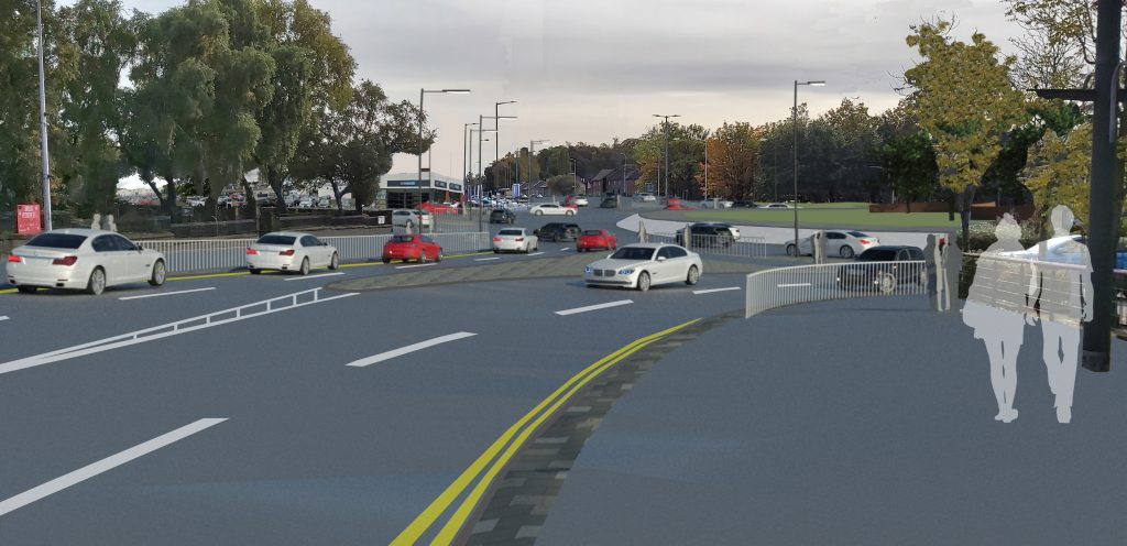 Ravenscraig Access Infrastructure - artists' impression of new roundabout at Airbles Road/Windmillhill Street.