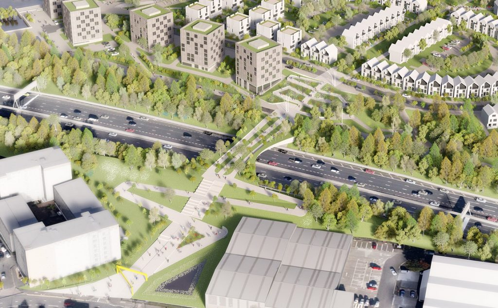 Artists' impression of Sighthill redevelopment - aerial view from above the new M8 bridge.