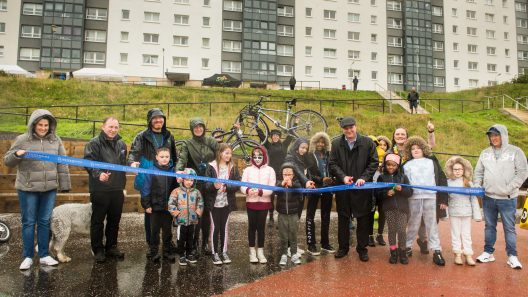 Photograph of the Cardonald community (children and adults) at Halfway Community Park at Moss Height Avenue, to celebrate its opening.