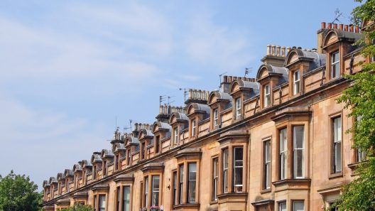 Stock photograph of Glasgow tenement flats